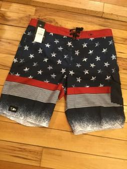 """O'Neill Mens Stars And Stripes 21"""" Board Shorts Size 34W"""