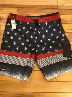 "O'Neill Mens Stars And Stripes 21"" Board Shorts Size 36W"