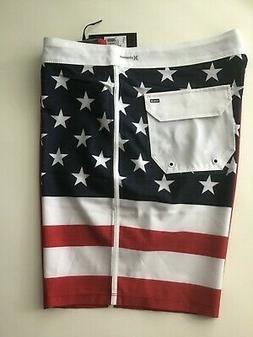 HURLEY PHANTOM CHEERS AMERICAN FLAG BOARD SHORTS  SIZE 34