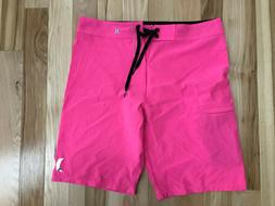 HURLEY Phantom One and Only Mens Pink Board Surf Shorts Sz 3
