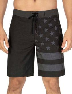 "Hurley Phantom Patriot 20"" Mens Board Shorts Size 34W Blac"