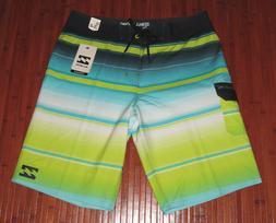 Billabong Platinum X All Day Mens Lime Blue Green Stripes Bo