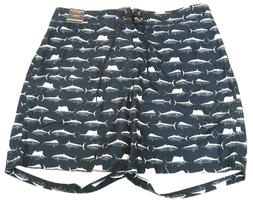 Nautica Quick Dry Blue Fish Brief Lined Swim Trunks Boardsho