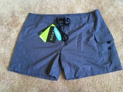 Tesla Rashguard Board Shorts M Medium Gray Womens