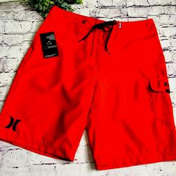 """Hurley Red Board Shorts Skate Men's Size 34 Inseam 22"""" Sid"""