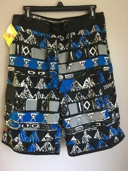 Maui rippers board shorts size 30 Blue Black Pattern