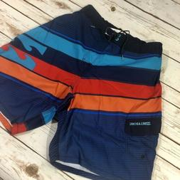 "Billabong Slice Layback 20"" Boardshorts Navy/ Orange/ Teal"