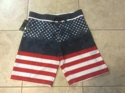 BURNSIDE Stars & Stripes BOARD SHORTS SWIM TRUNKS ~ Men's 36