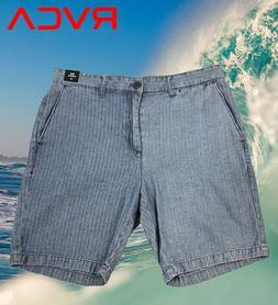 RVCA Striped Denim Shorts Size 32 Surfing Boardshorts Trunk