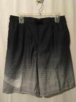 Nike Swim Trunks Board Shorts Sz L XL Black Gray Stripes Swo