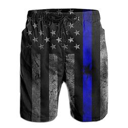Fimaliy Thin Blue Line Men's Summer Beach Shorts Quick Dry B