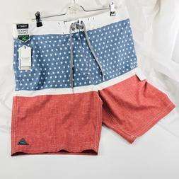 TRINITY Men's Cargo Boardshorts Swim Shorts Trunks Red White