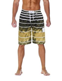 Unitop Men's Colortful Striped Swim Trunks Beach Board Short