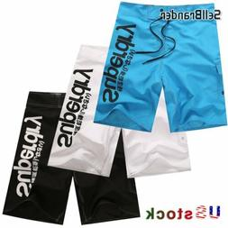 US Men's Quick-Dry Beach Surfing Pants Soft Cotton Gym Swim
