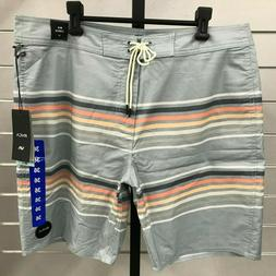 "RVCA VA Grey Green Islands Nature 19"" Boardshorts Swim Trunk"