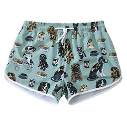 Women Quick Dry 4-Way Stretch Puppy Party Beach Board Shorts