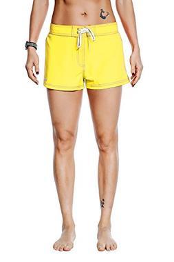 Nonwe Women's Board Shorts Quick Dry Soild Lightweight Yello