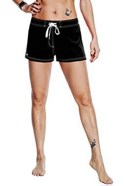 Nonwe Women's Board Shorts Quick Dry Soild Lightweight Black