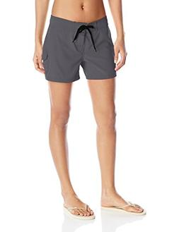 Kanu Surf Women's Breeze Solid Stretch Boardshort, Charcoal,