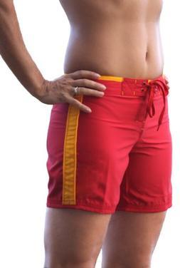 Maui Rippers Women's Lifeguard 13 Red/Yellow Boardshorts