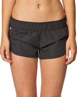Hurley Women's Supersuede Solid Beachrider Board Short Black